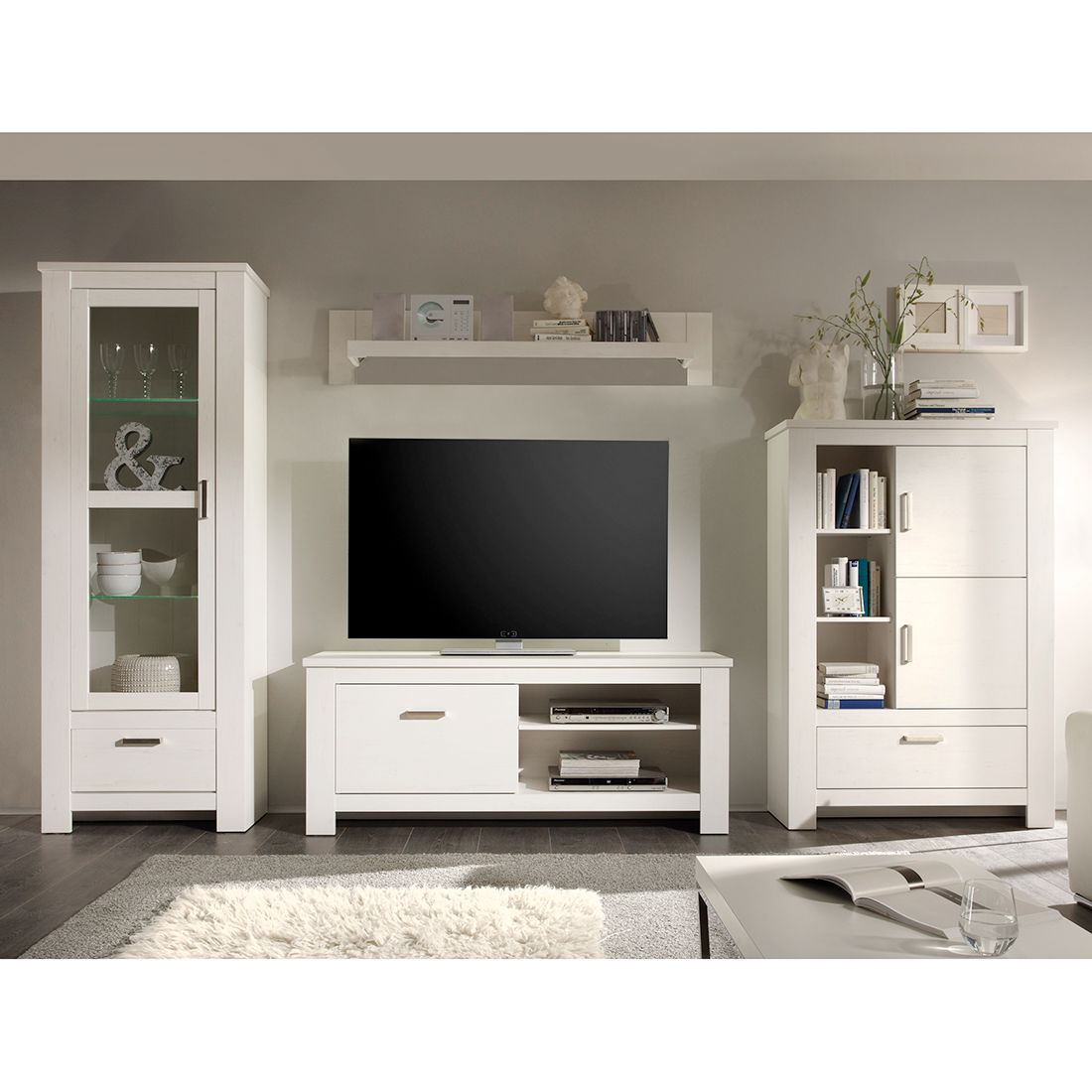 wohnwand rostock 4 teilig iii ohne beleuchtung pinie wei dekor kerkhoff online bestellen. Black Bedroom Furniture Sets. Home Design Ideas