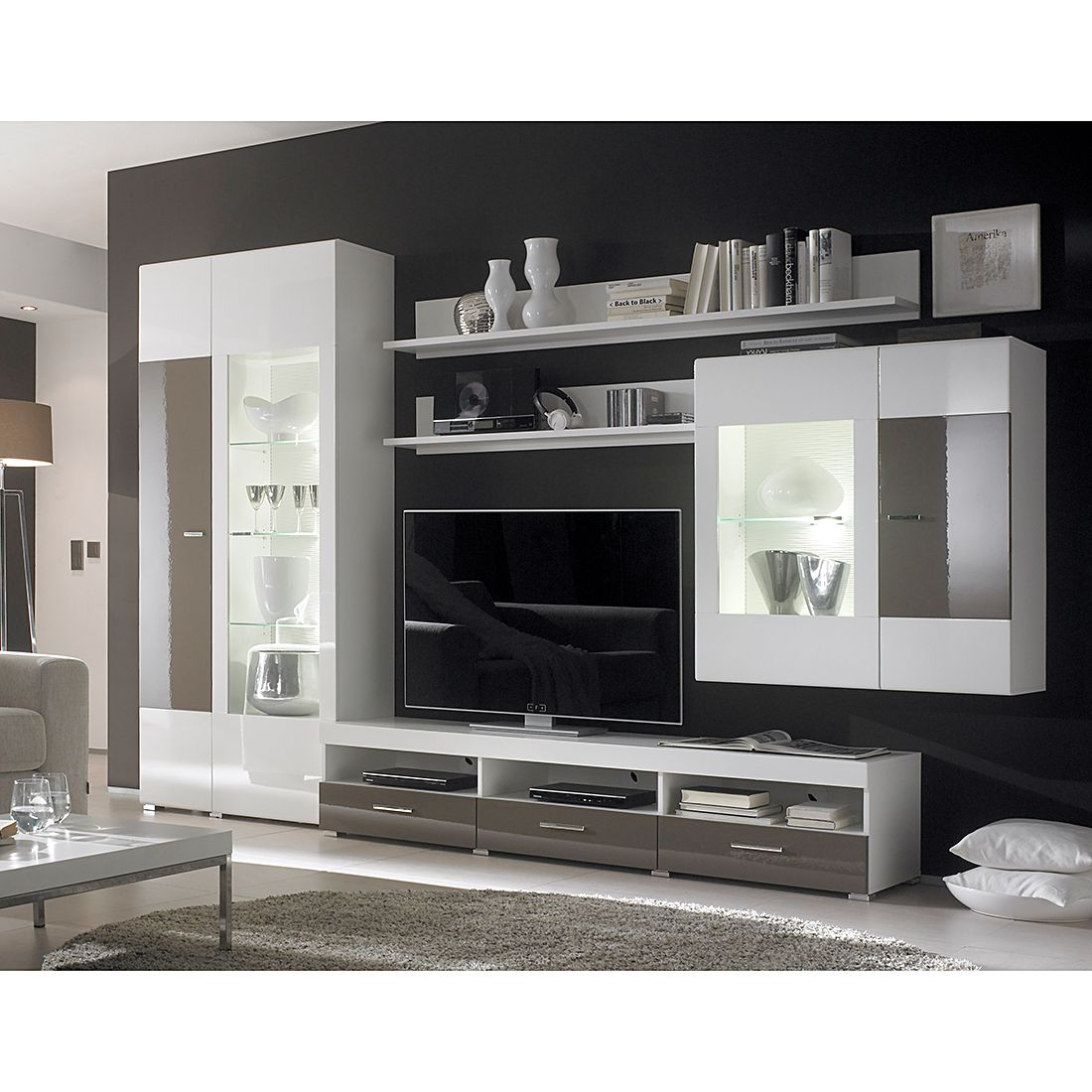 wohnwand roveret 5 tlg wei hochglanz. Black Bedroom Furniture Sets. Home Design Ideas