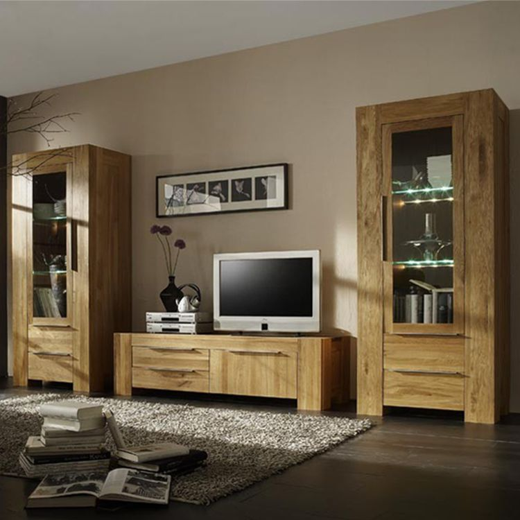 wohnwand san sebastian 3 teilig eiche massiv mit. Black Bedroom Furniture Sets. Home Design Ideas