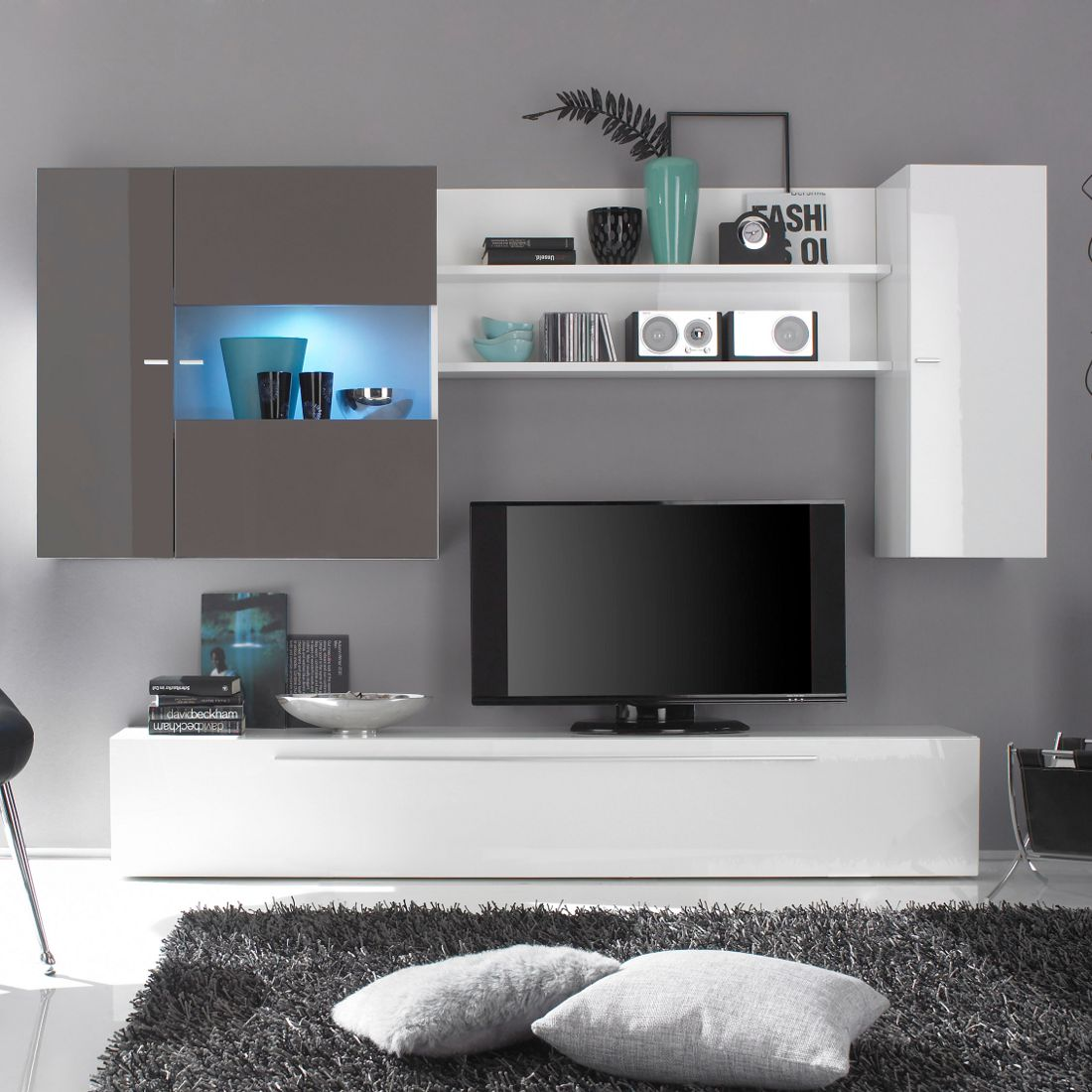 wohnwand sidores wei fango hochglanz. Black Bedroom Furniture Sets. Home Design Ideas
