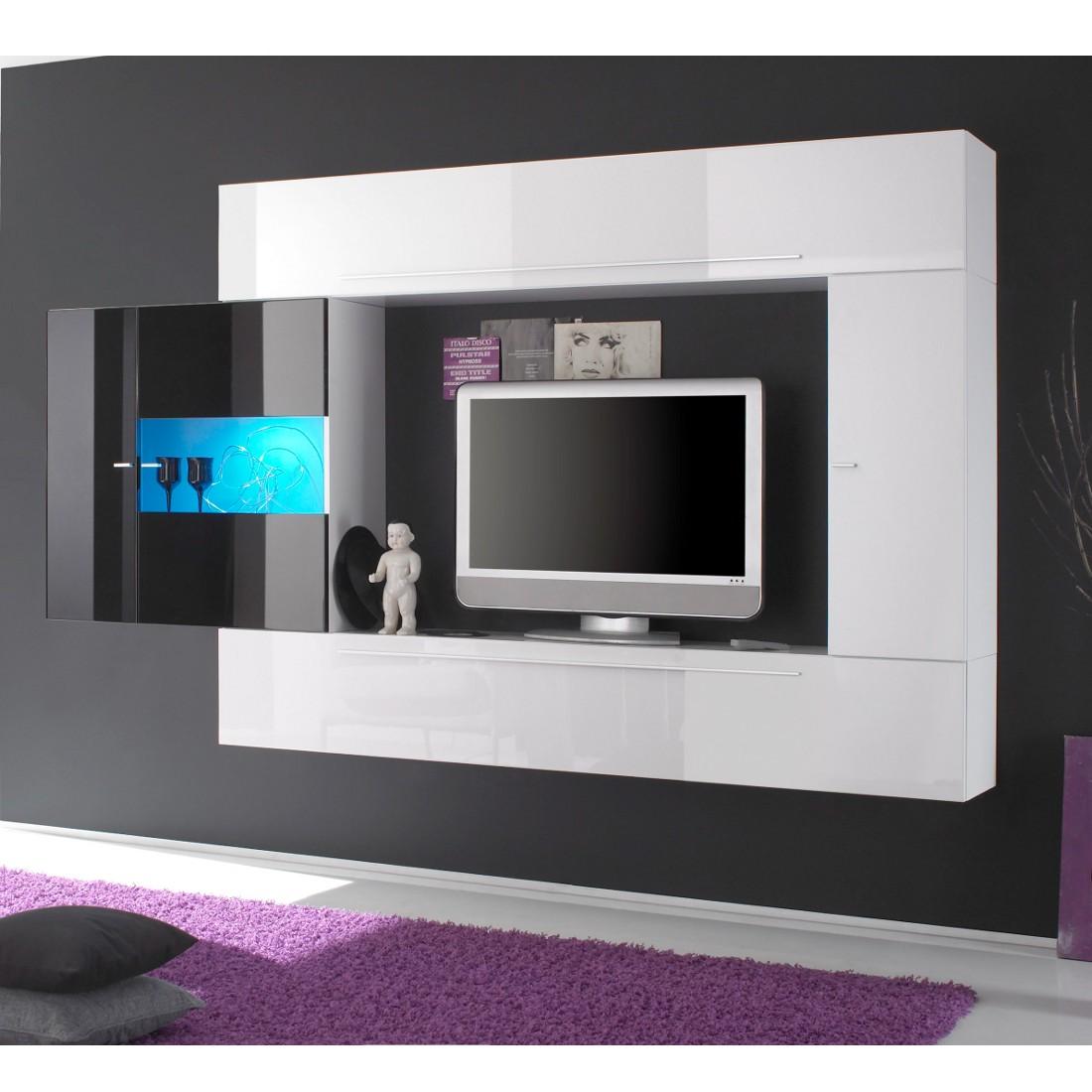 wohnwand schwarz weiss hochglanz preisvergleiche. Black Bedroom Furniture Sets. Home Design Ideas