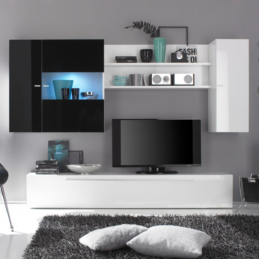 wohnwand sidores wei schwarz hochglanz. Black Bedroom Furniture Sets. Home Design Ideas