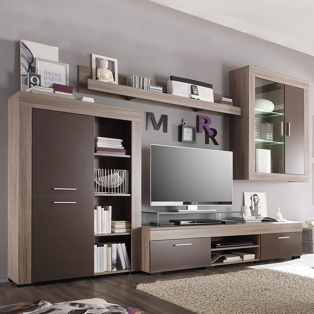wohnwand sizilien inkl beleuchtung eiche s gerau dekor schlamm. Black Bedroom Furniture Sets. Home Design Ideas
