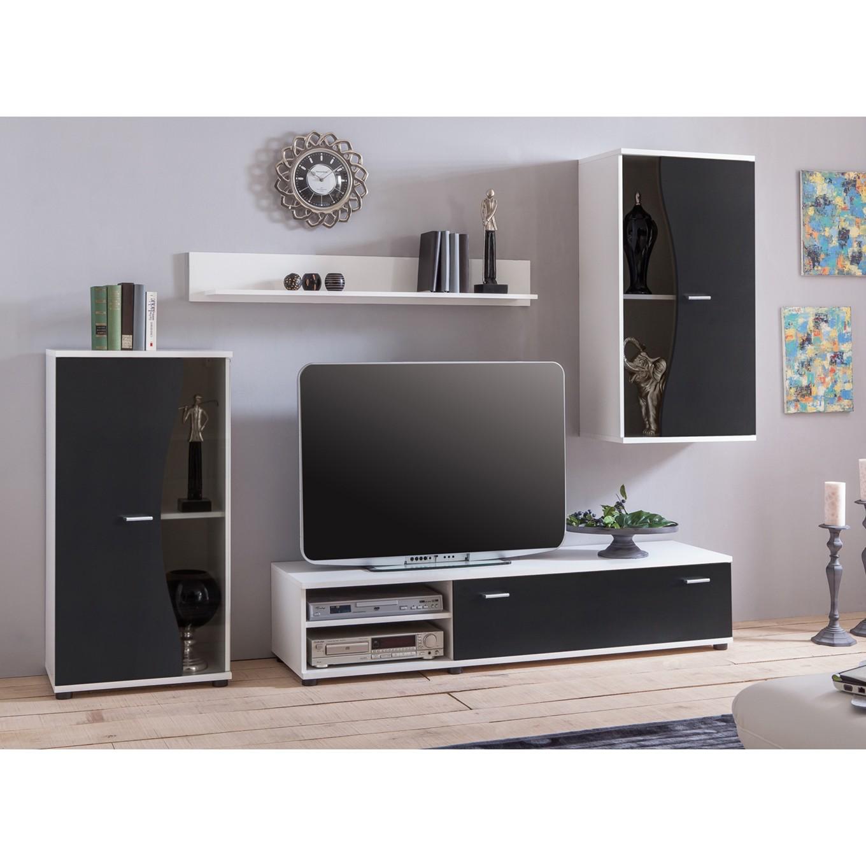 preisvergleich eu wohnwand schwarz wei. Black Bedroom Furniture Sets. Home Design Ideas