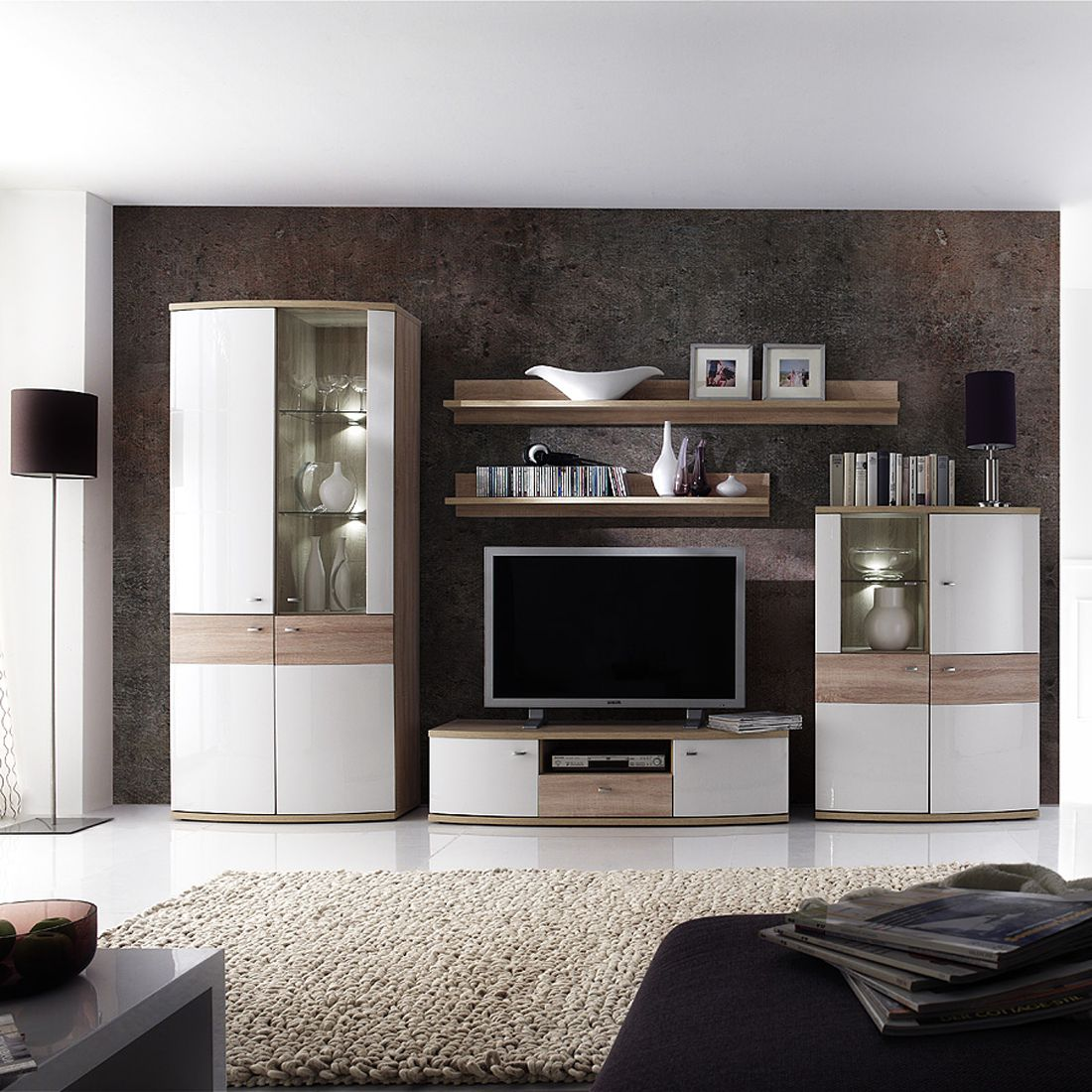 wohnwand space 5 teilig eiche sonoma dekor hochglanz. Black Bedroom Furniture Sets. Home Design Ideas