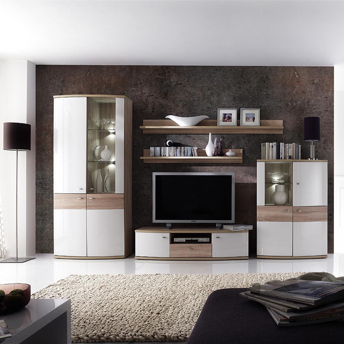 EEK A+, Wohnwand Clarince (5-teilig) – Hochglanz Weiß/Eiche Sonoma Dekor mit Beleuchtung, loftscape bestellen