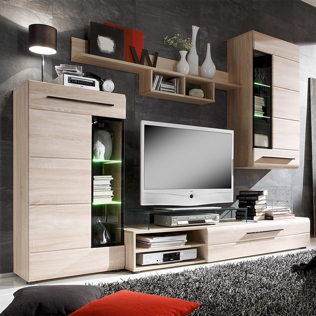 wohnwand storm i 4 teilig inkl beleuchtung eiche s gerau hell dekor. Black Bedroom Furniture Sets. Home Design Ideas
