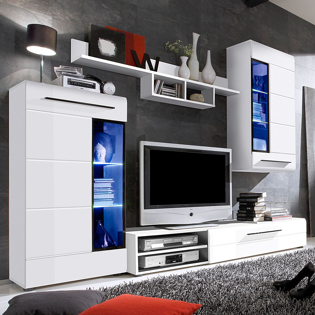 wohnwand storm i 4 teilig inkl beleuchtung wei hochglanz. Black Bedroom Furniture Sets. Home Design Ideas