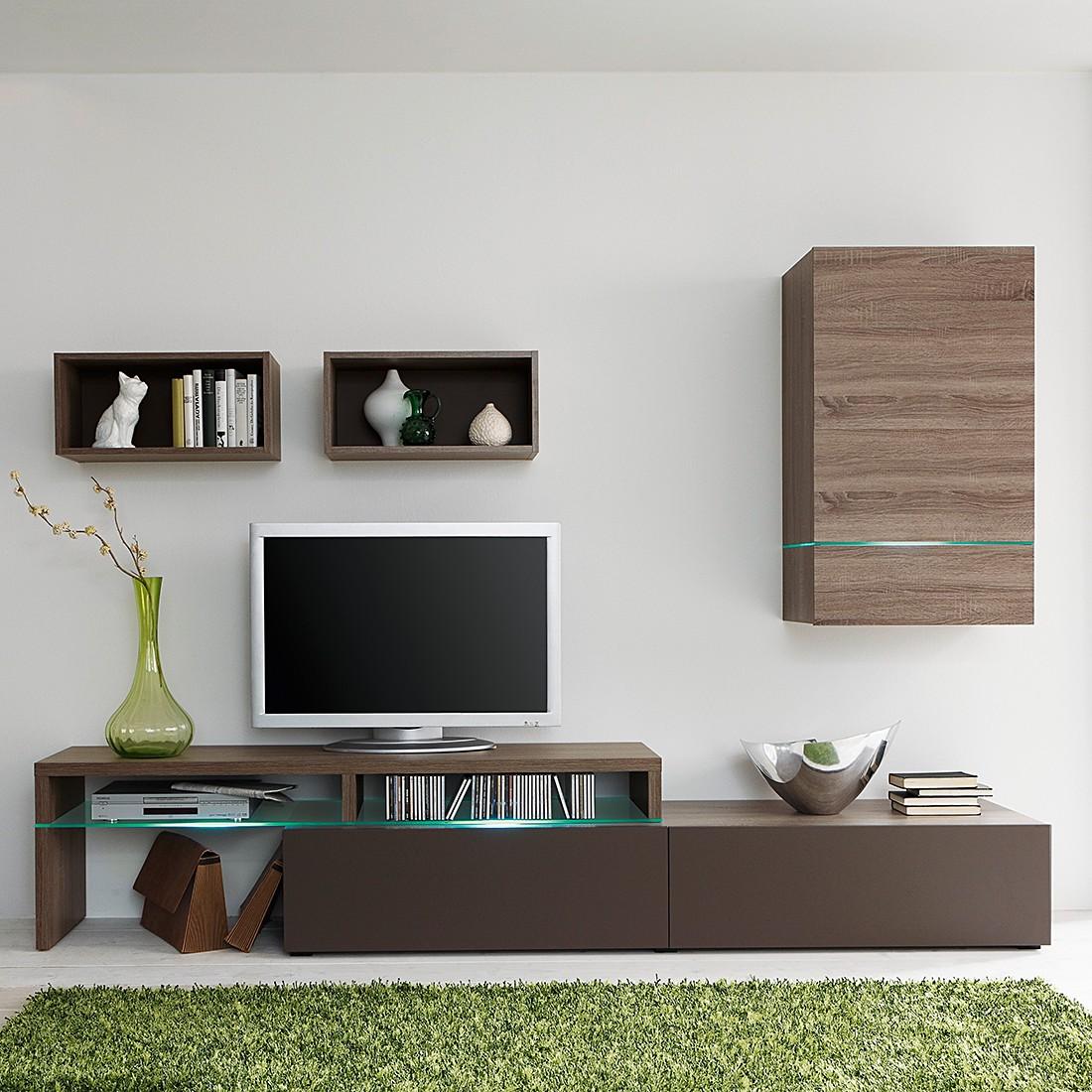 wohnwand colourart 4 teilig eiche sonoma tr ffel dekor lava ohne beleuchtung cs schmal. Black Bedroom Furniture Sets. Home Design Ideas