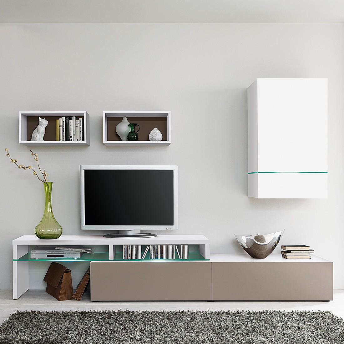 Cs Schmal wohnwand colourart 4 teilig weiß congo ohne beleuchtung cs schmal günstig