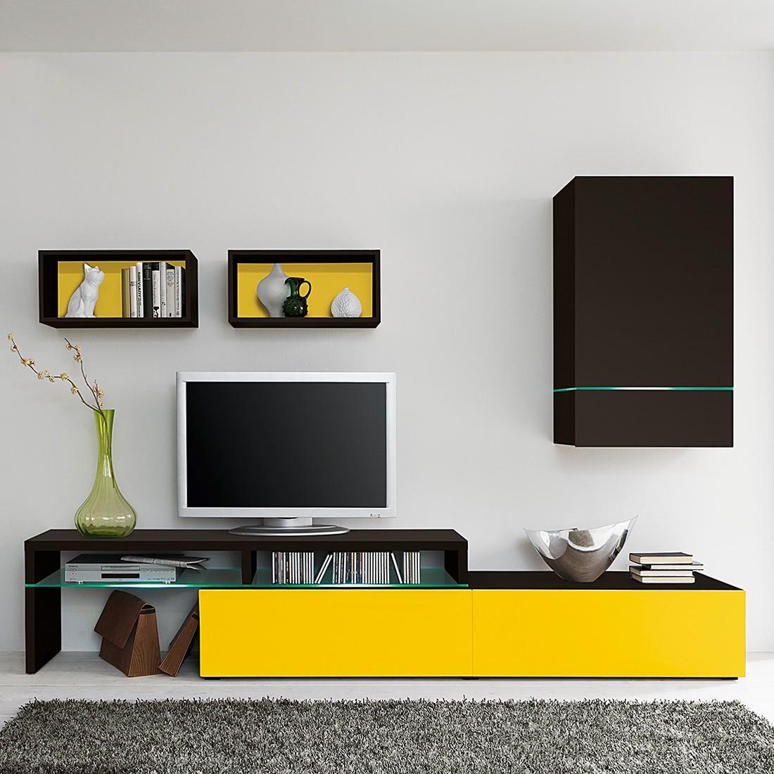Wohnwand ColourArt (4-teilig) - Schwarz/Gelb (Ohne Beleuchtung ...