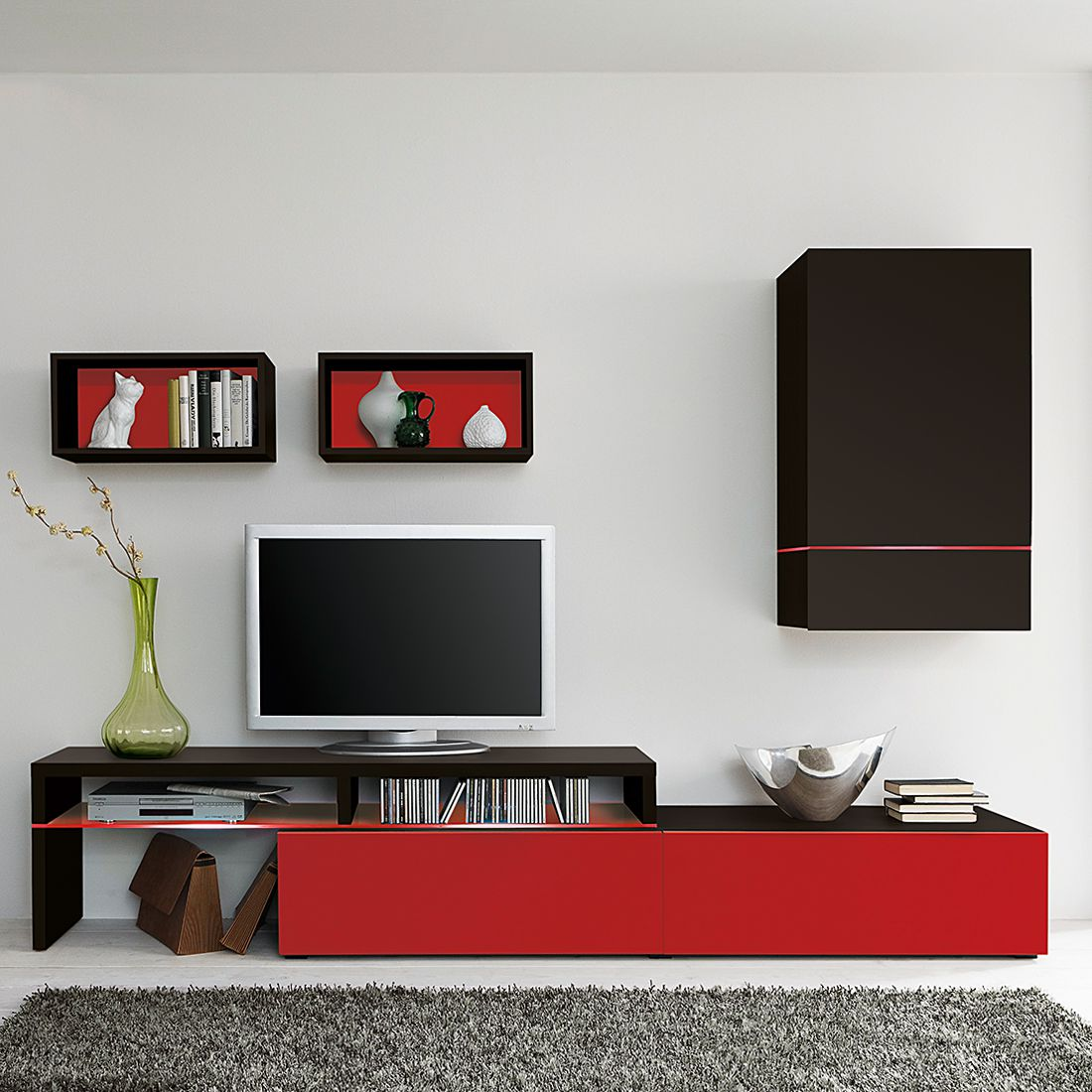 Eek A Wohnwand Colourart 4 Teilig Schwarz Rot Mit Led