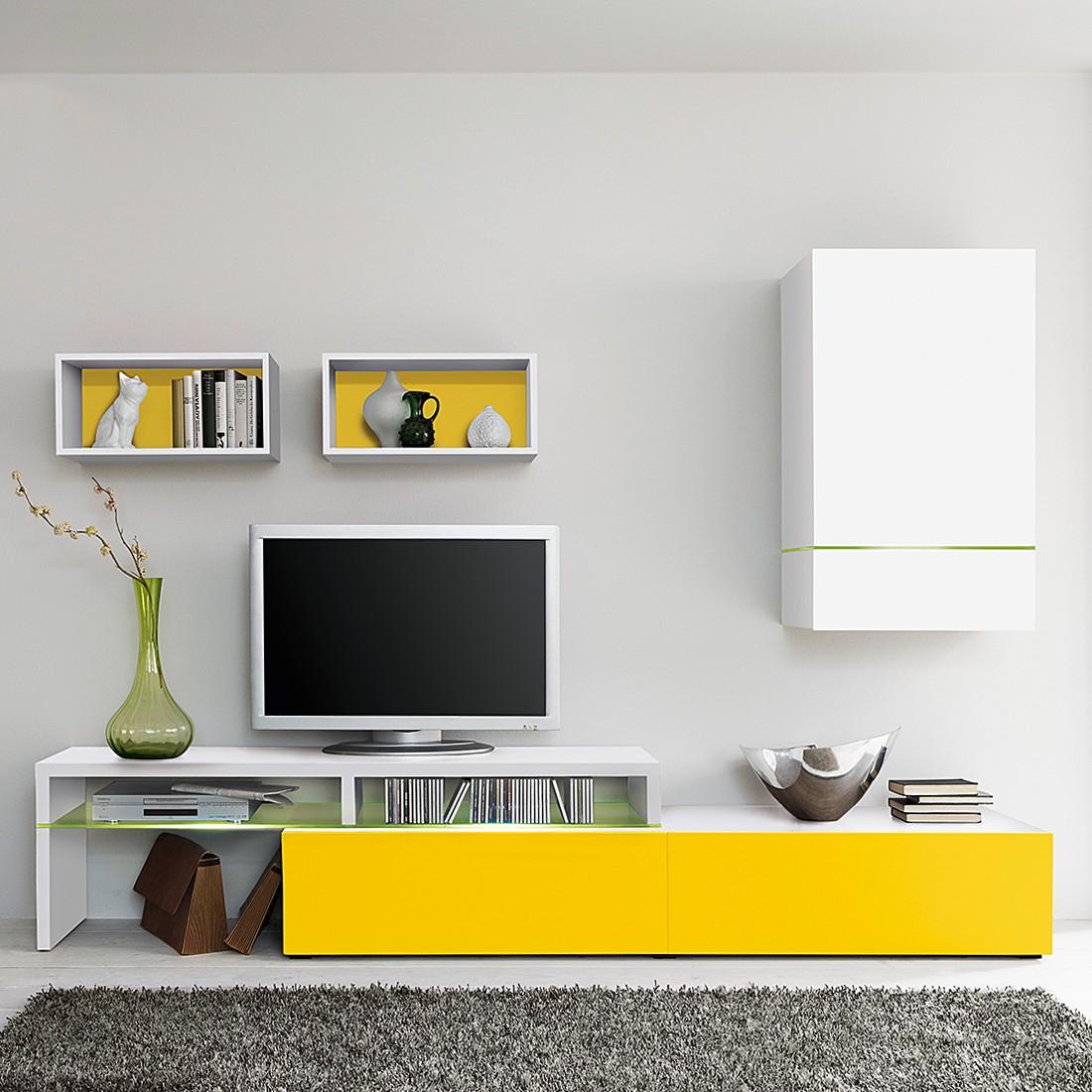 wohnwand colourart 4 teilig wei gelb ohne beleuchtung. Black Bedroom Furniture Sets. Home Design Ideas