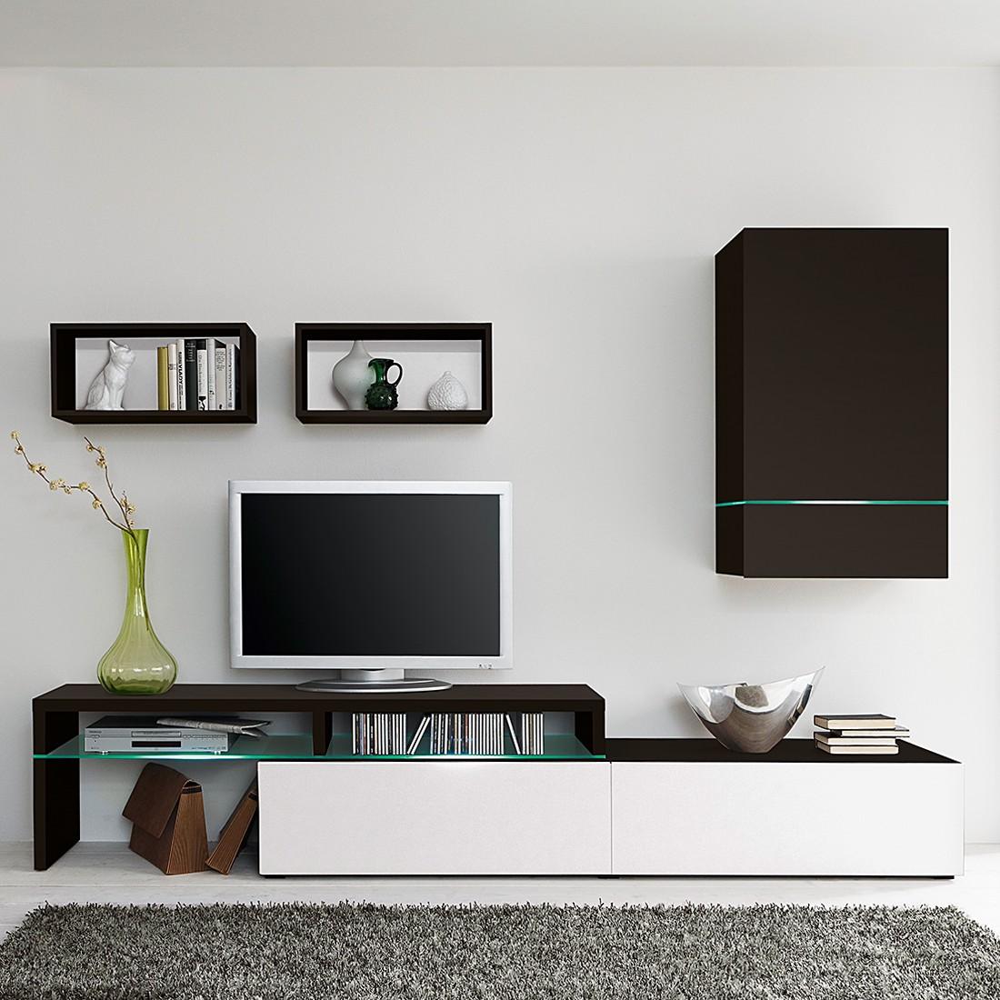 Wohnwand ColourArt (4-teilig) - Schwarz/Weiß (Ohne Beleuchtung)