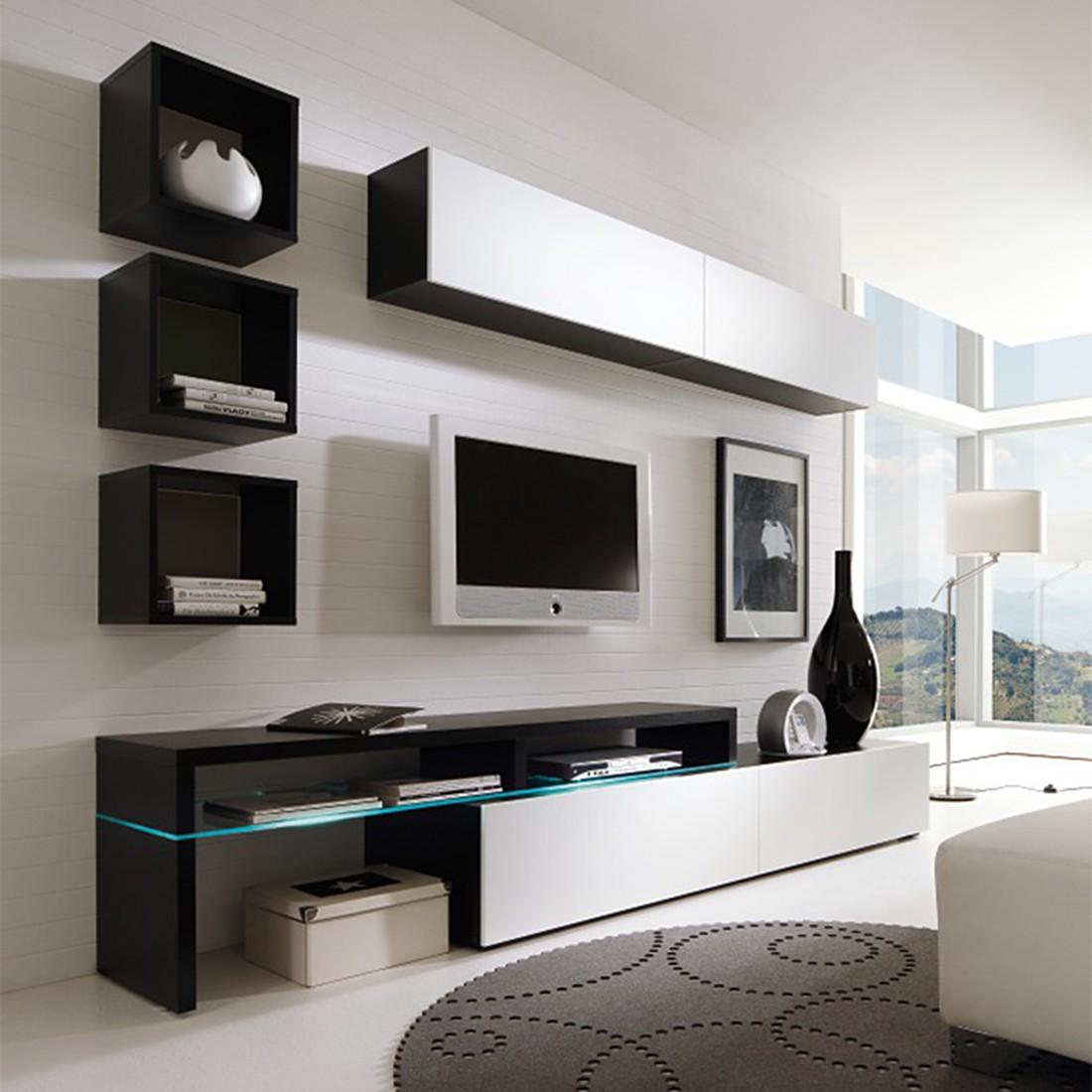 eek a wohnwand colourart 6 teilig schwarz wei mit beleuchtung fernbedienung cs. Black Bedroom Furniture Sets. Home Design Ideas