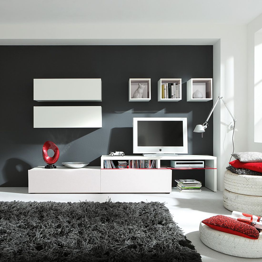 wohnwand colourart 6 teilig wei wei mit beleuchtung. Black Bedroom Furniture Sets. Home Design Ideas