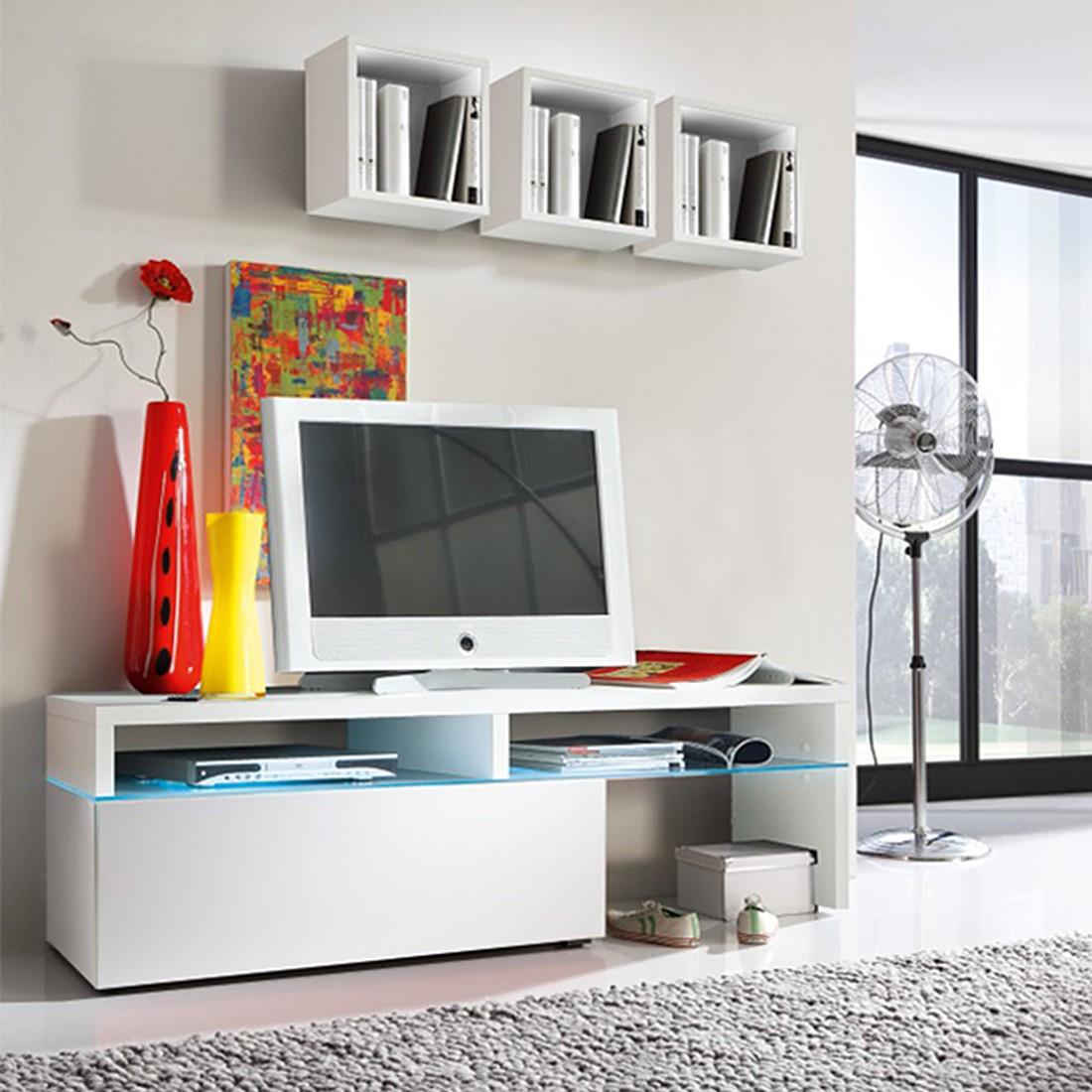eek a wohnwand colourart 4 teilig wei mit led beleuchtung fernbedienung cs schmal. Black Bedroom Furniture Sets. Home Design Ideas