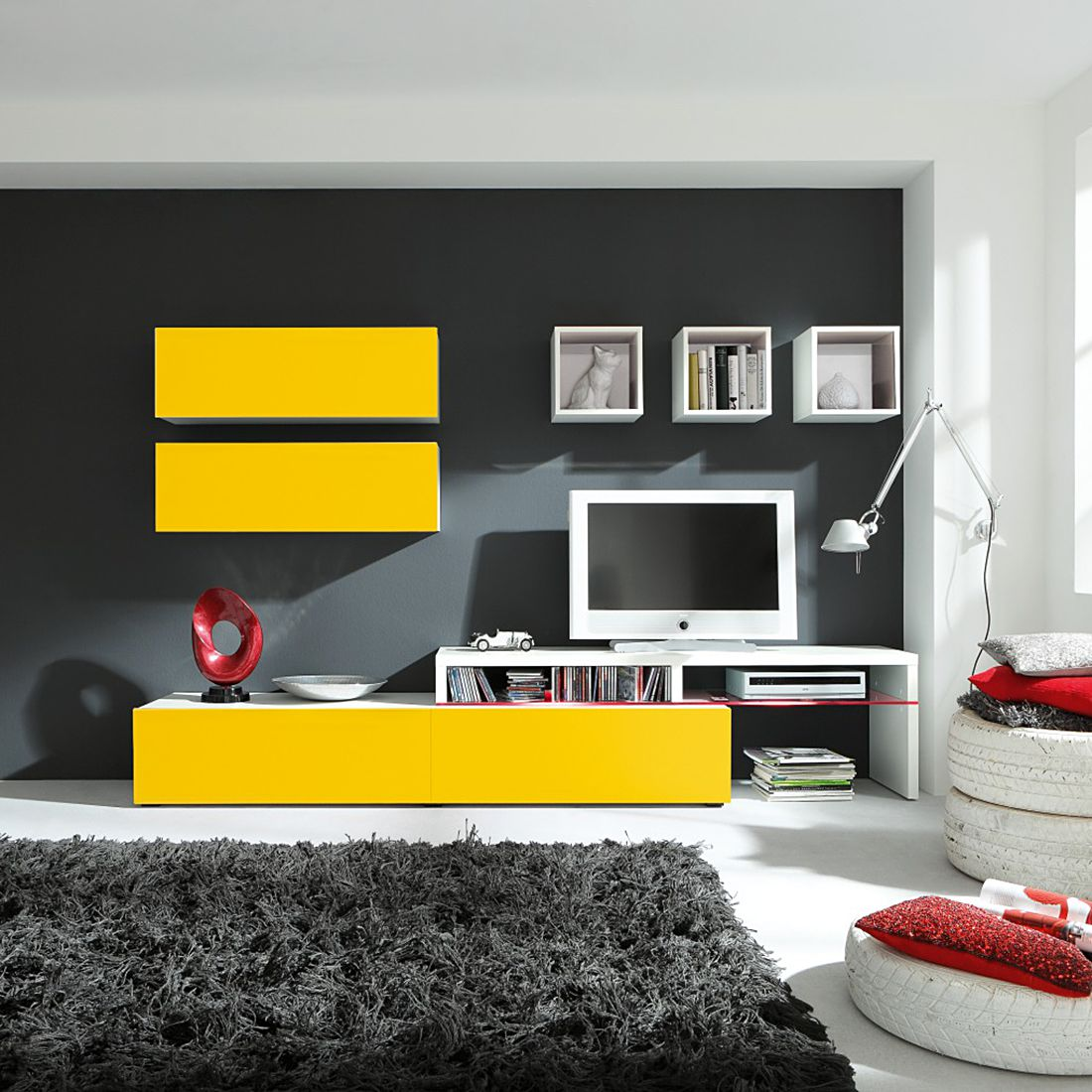 wohnwand colourart 6 teilig gelb wei ohne beleuchtung cs schmal g nstig bestellen. Black Bedroom Furniture Sets. Home Design Ideas