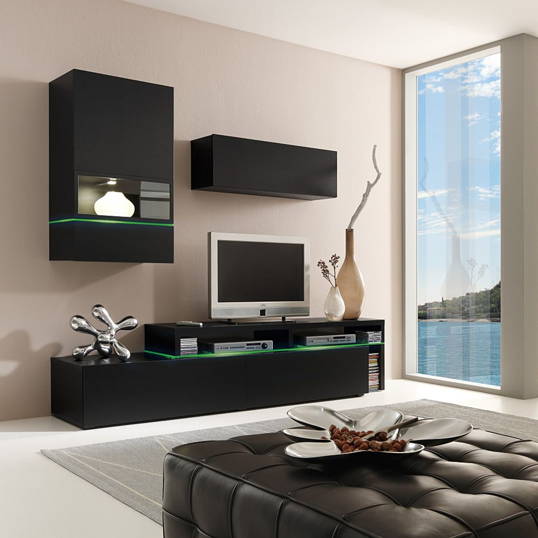 wohnwand colourart 3 teilig schwarz schwarz ohne. Black Bedroom Furniture Sets. Home Design Ideas