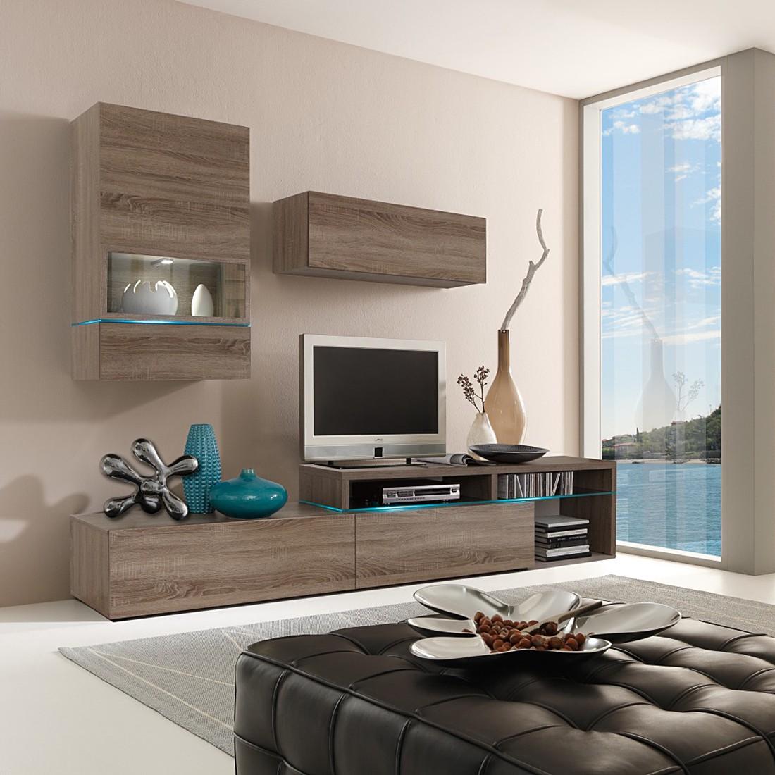 wohnwand colourart 6 teilig eiche sonoma dekor tr ffel ohne beleuchtung cs schmal bestellen. Black Bedroom Furniture Sets. Home Design Ideas
