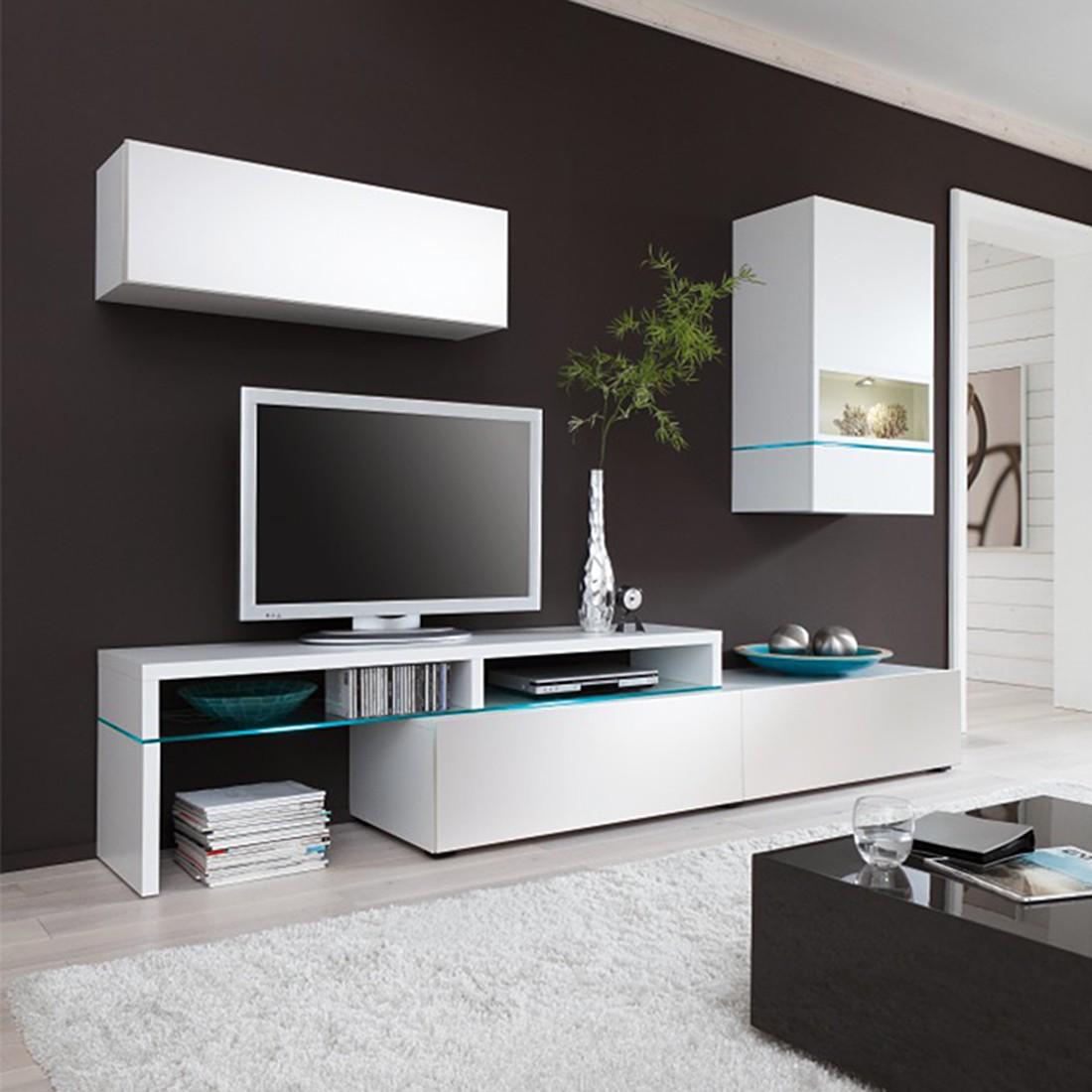 AuBergewohnlich Wohnwand ColourArt (3 Teilig) U2013 Weiß (Mit LED Beleuchtung U0026 Fernbedienung