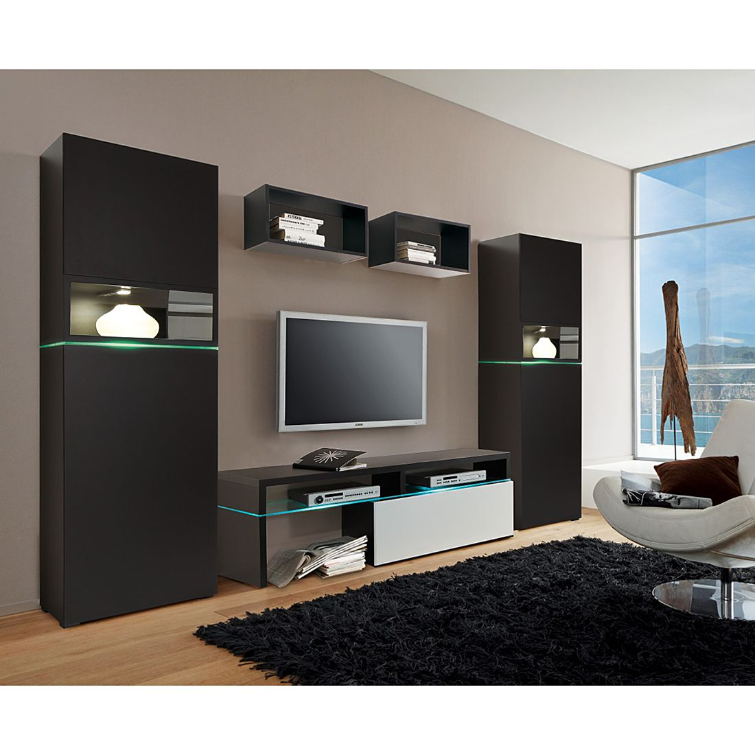 wohnwand colourart 5 teilig schwarz wei mit led. Black Bedroom Furniture Sets. Home Design Ideas