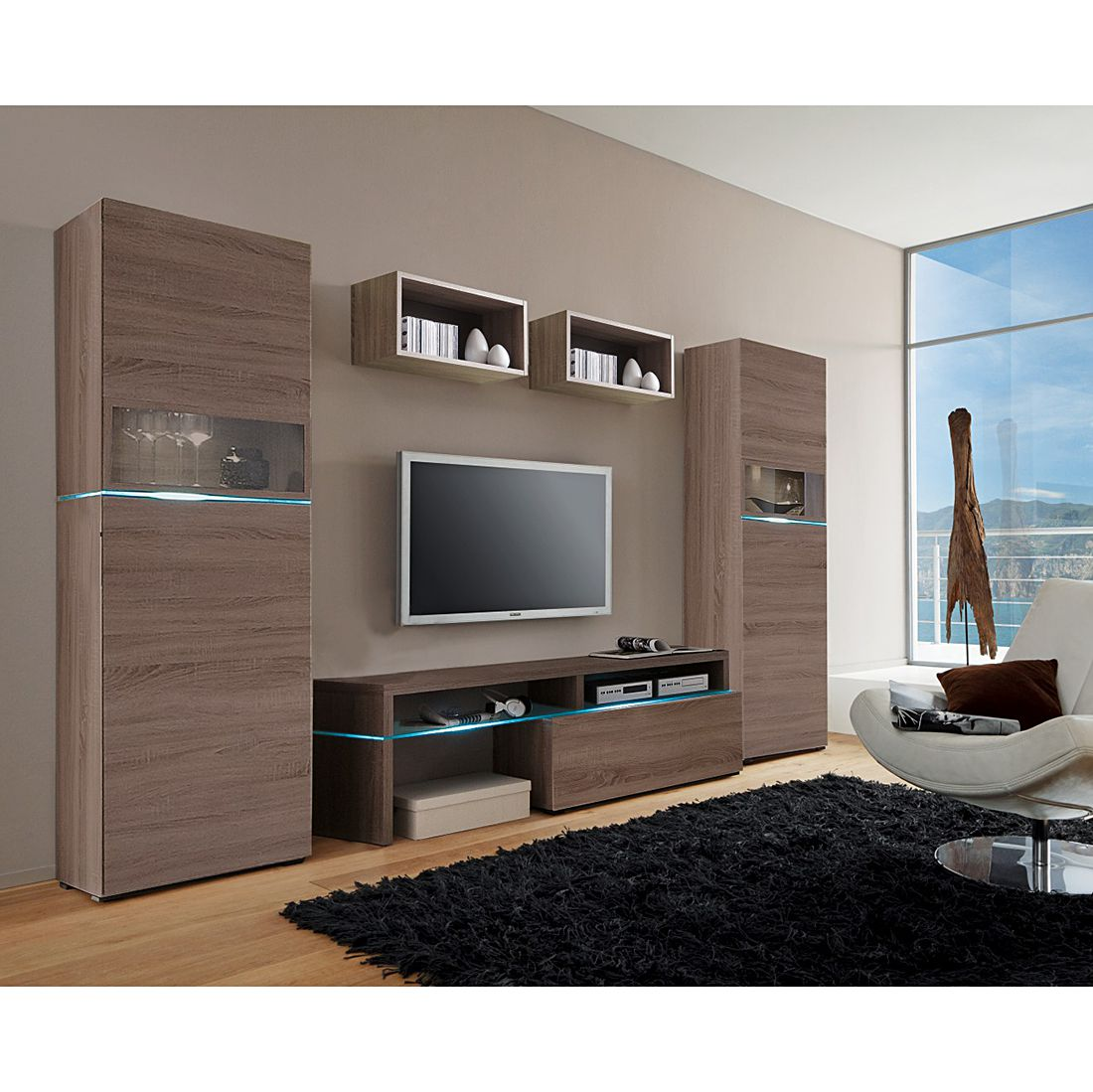 wohnwand colourart 5 teilig eiche dekor sonoma. Black Bedroom Furniture Sets. Home Design Ideas