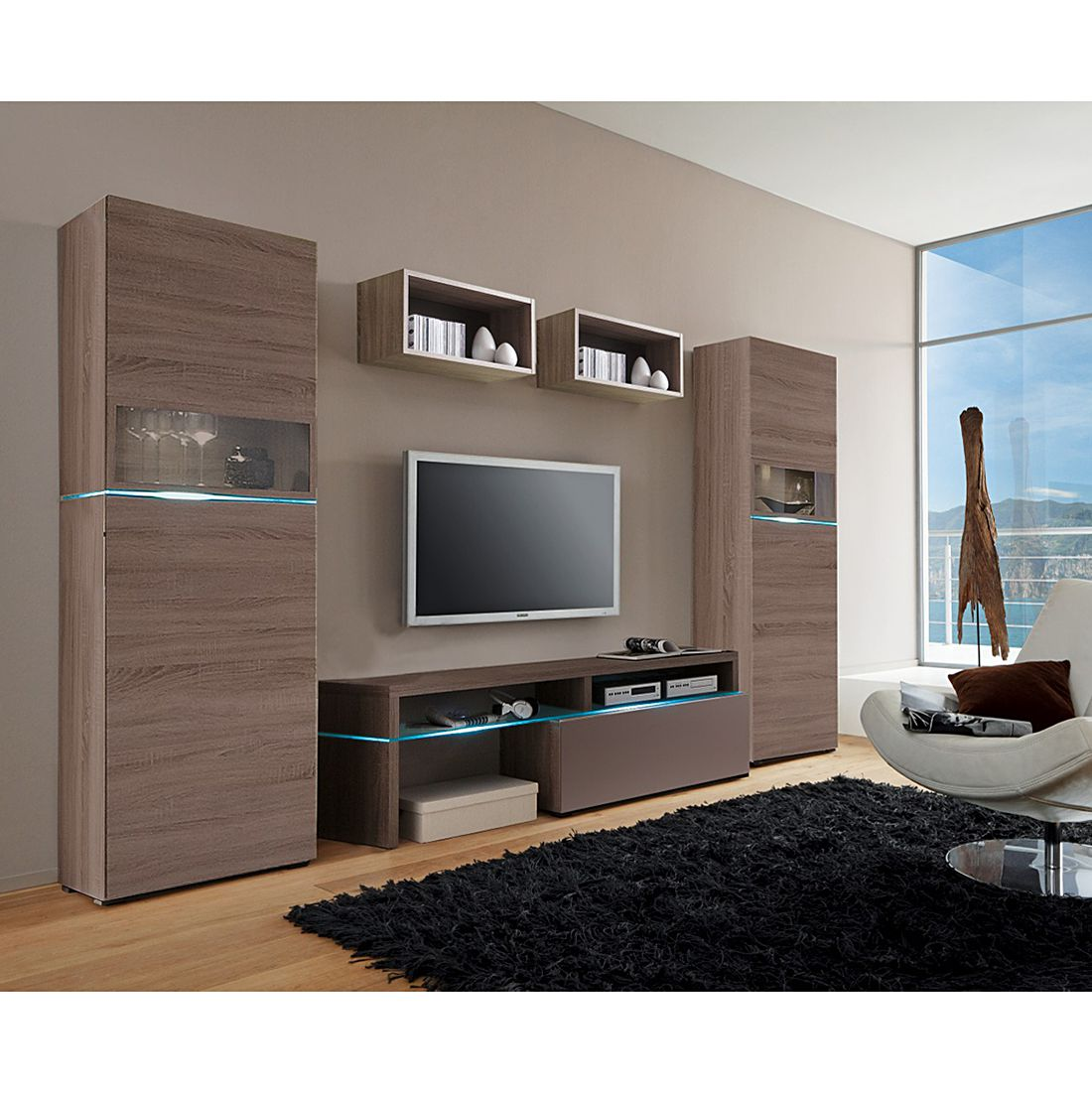 wohnwand colourart 5 teilig eiche sonoma tr ffel. Black Bedroom Furniture Sets. Home Design Ideas