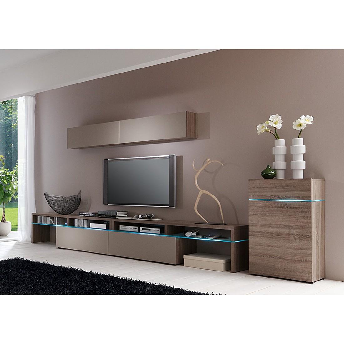 wohnwand colourart 4 teilig eiche sonoma tr ffel dekor congo ohne beleuchtung cs schmal. Black Bedroom Furniture Sets. Home Design Ideas