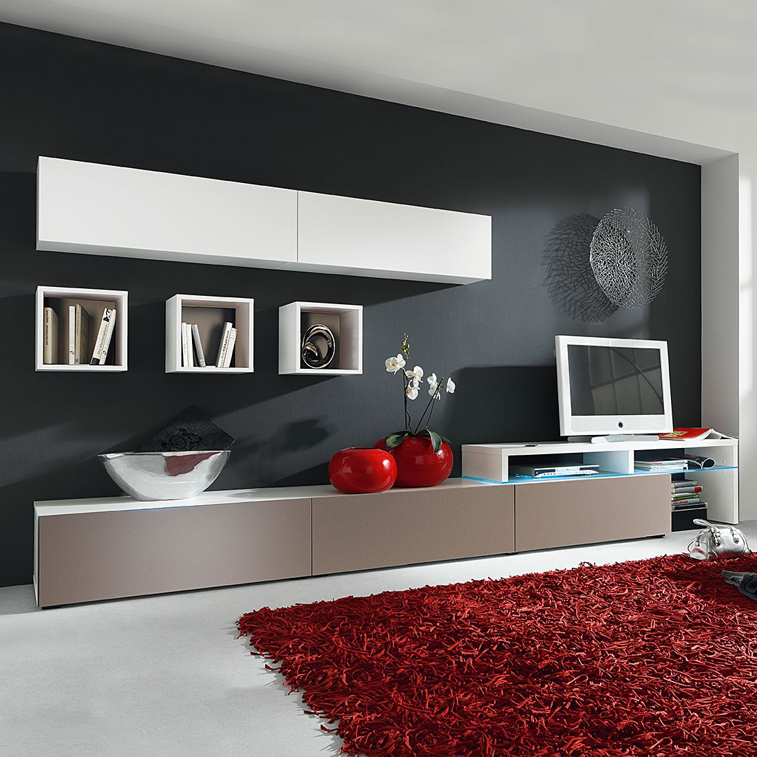 wohnwand colourart 6 teilig gelb wei ohne. Black Bedroom Furniture Sets. Home Design Ideas