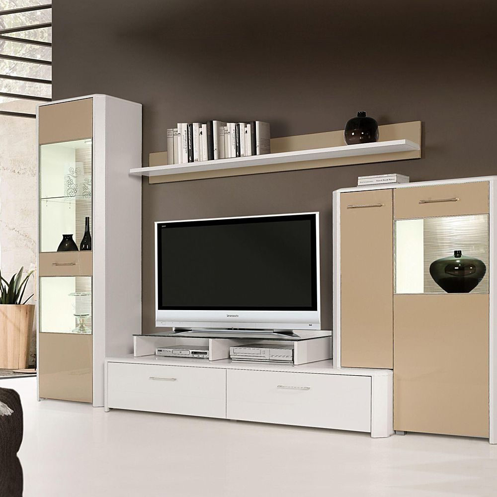 wohnwand sugar 4 teilig beige hochglanz wei zubeh r. Black Bedroom Furniture Sets. Home Design Ideas