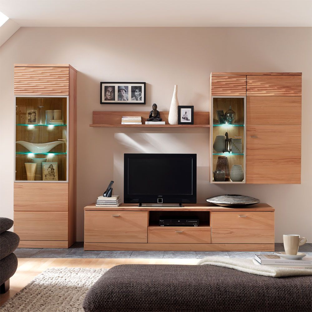 wohnwand sun 4 teilig kernbuche teilmassiv. Black Bedroom Furniture Sets. Home Design Ideas
