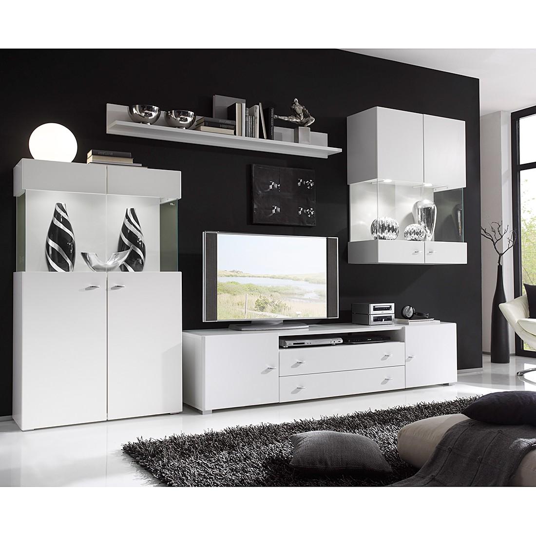 EEK A+, Wohnwand Swap I (4-teilig) – Weiß – Mit Beleuchtung, Modoform bestellen
