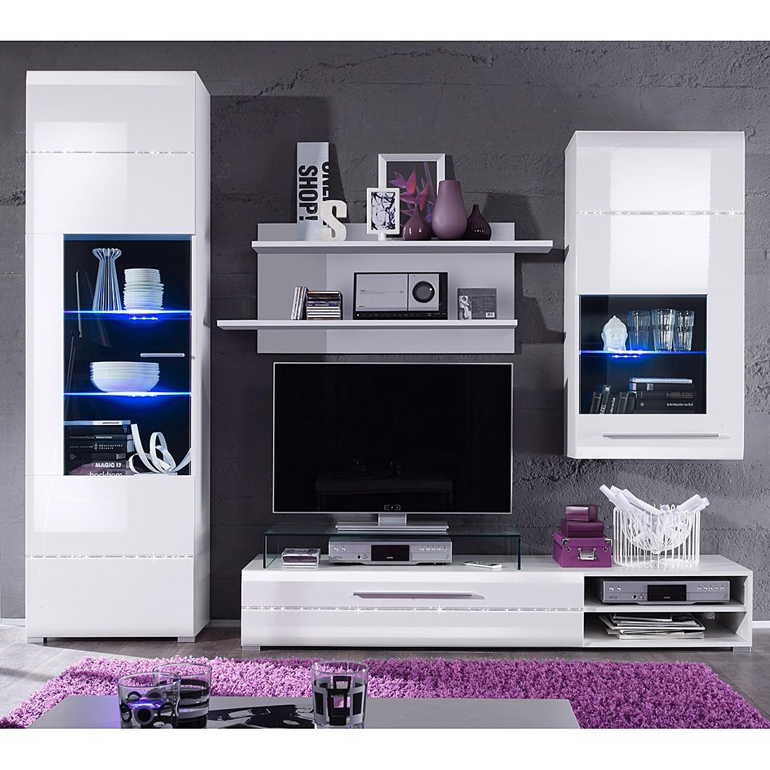 wohnwand tempo 4 teilig wei hochglanz strass glitzer applikation ohne beleuchtung. Black Bedroom Furniture Sets. Home Design Ideas