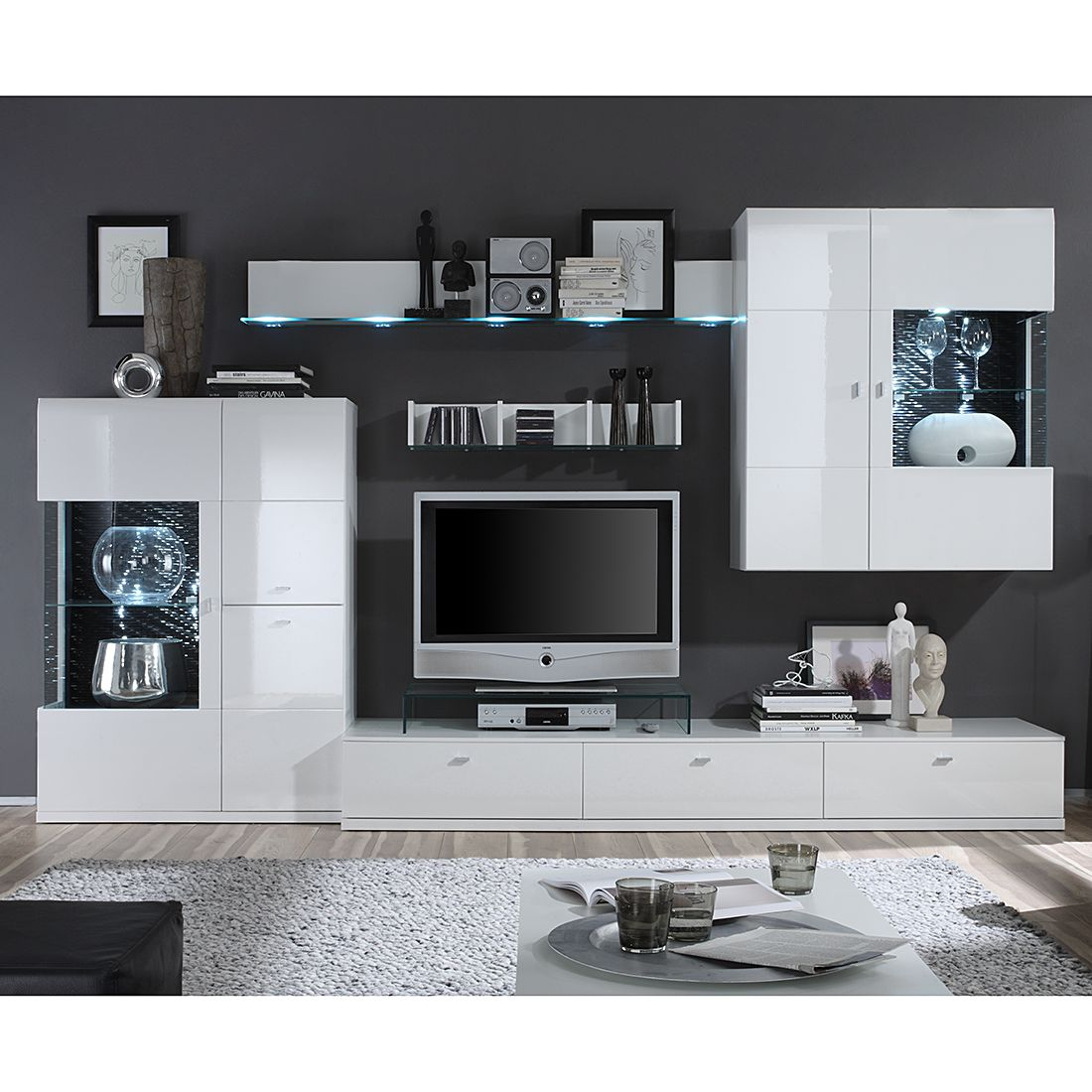 wohnwand tesseo i 4 teilig hochglanz wei absetzung. Black Bedroom Furniture Sets. Home Design Ideas