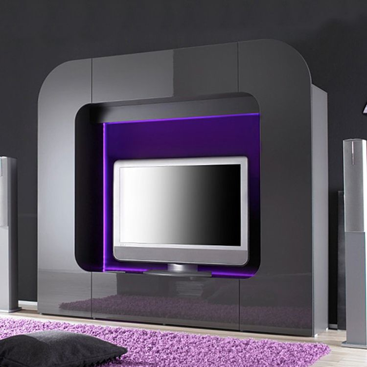 wohnwand tiresa grau hochglanz ausf hrung ohne. Black Bedroom Furniture Sets. Home Design Ideas