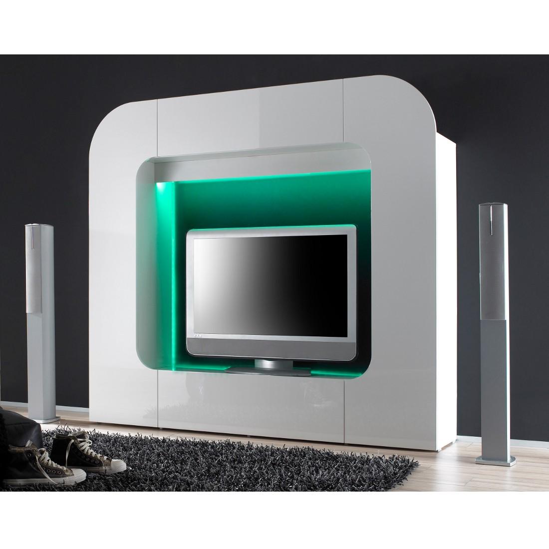 wohnwand tiresa wei hochglanz ausf hrung ohne beleuchtung. Black Bedroom Furniture Sets. Home Design Ideas