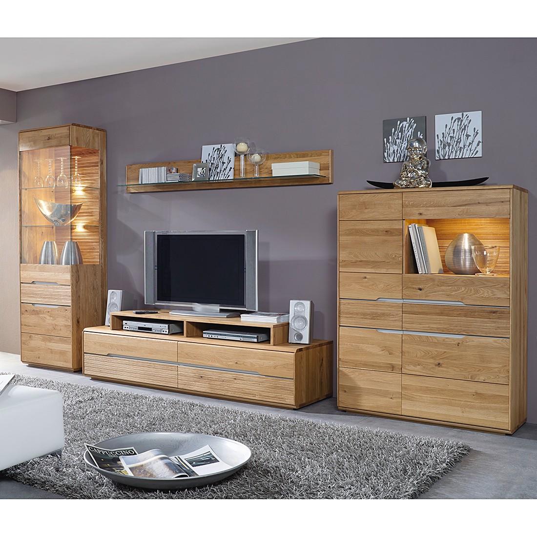 wohnwand tonino i 4 teilig wildeiche massiv ohne beleuchtung jung s hne g nstig kaufen. Black Bedroom Furniture Sets. Home Design Ideas