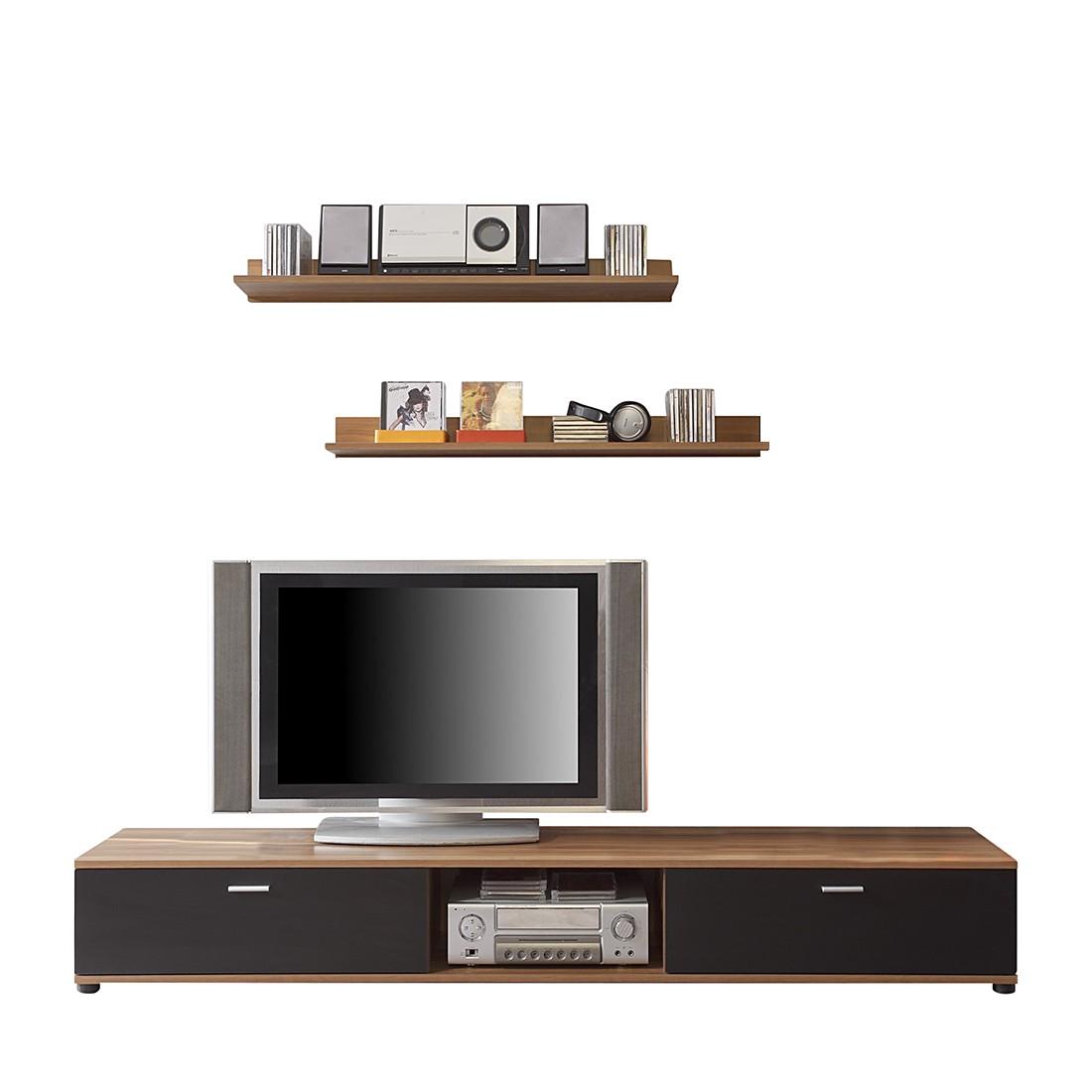 wohnwand top five 3 teilig wei nussbaum dekor. Black Bedroom Furniture Sets. Home Design Ideas
