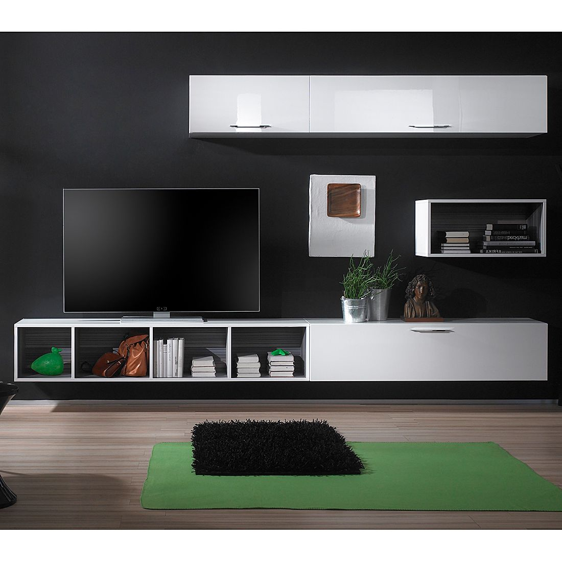 wohnwand torizzo wei hochglanz. Black Bedroom Furniture Sets. Home Design Ideas