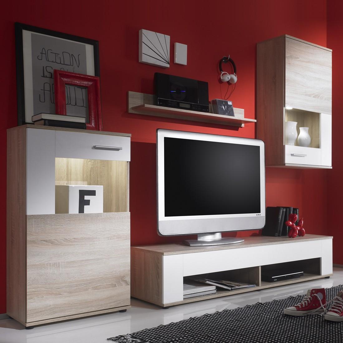 wohnwand townsville i 4 teilig inkl beleuchtung. Black Bedroom Furniture Sets. Home Design Ideas