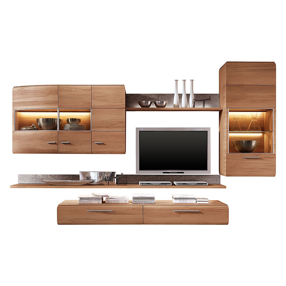 Gr e bht 35221355 farbe braun material massivholz style for Wohnwand 5 meter