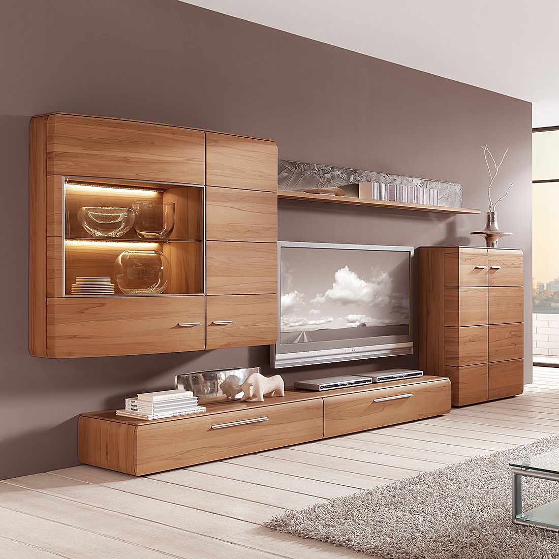 eek a wohnwand trento iii 4 teilig kernbuche massiv mit beleuchtung hartmann kaufen. Black Bedroom Furniture Sets. Home Design Ideas
