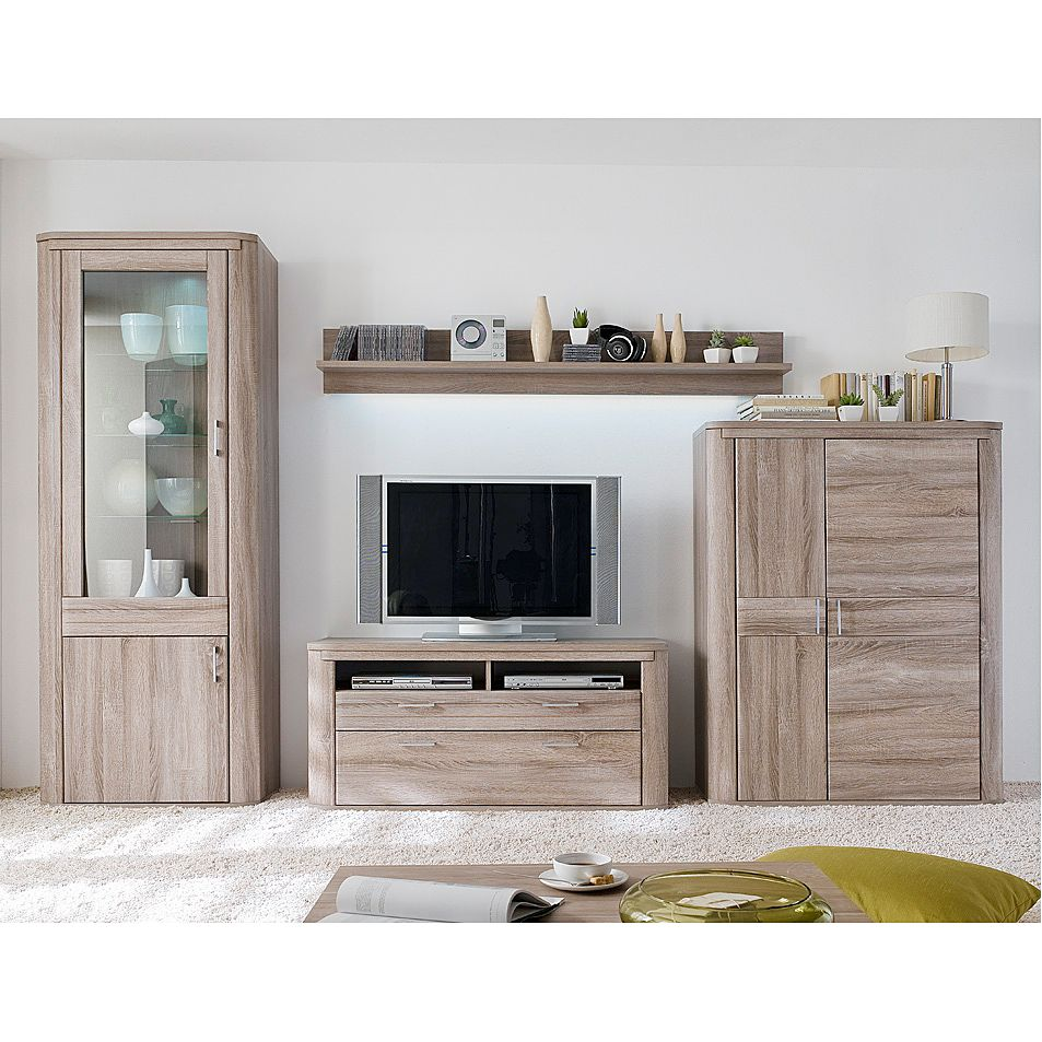 wohnwand trufas 4 teilig eiche tr ffel dekor. Black Bedroom Furniture Sets. Home Design Ideas