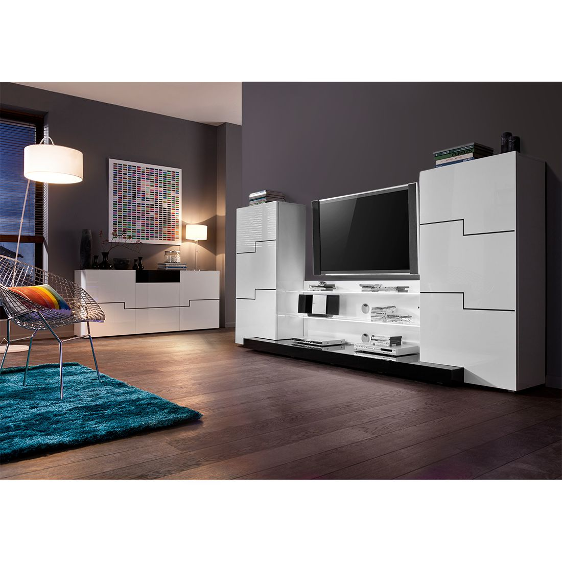wohnwand twin hochglanz wei mit beleuchtung ohne wandboard roomscape. Black Bedroom Furniture Sets. Home Design Ideas