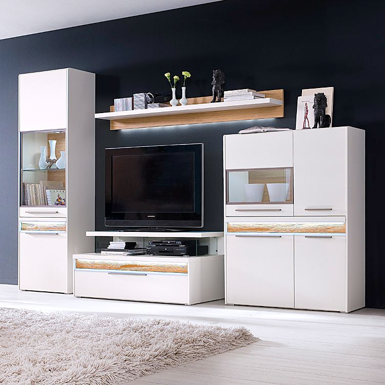 wohnwand vada 4 teilig inklusive beleuchtung matt wei. Black Bedroom Furniture Sets. Home Design Ideas