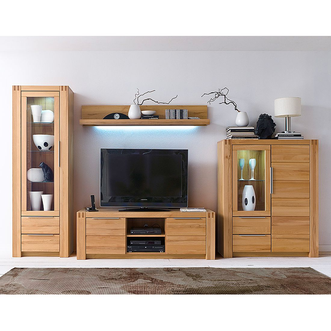 wohnwand vigas ii 4 teilig buche massiv lackiert. Black Bedroom Furniture Sets. Home Design Ideas