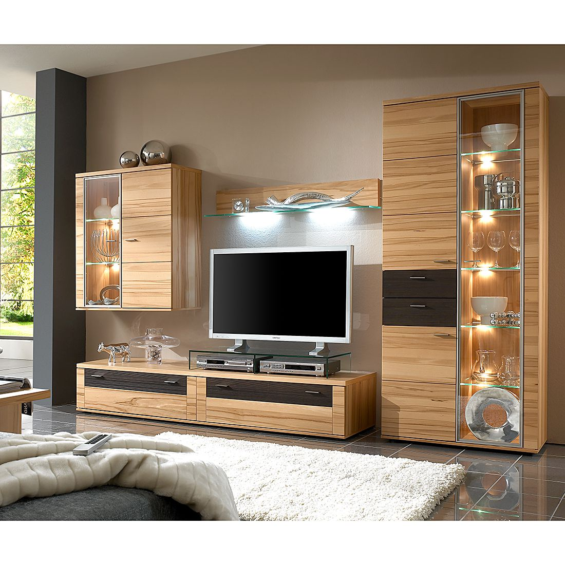 wohnwand vita iii 4 teilig kernbuche vitrinenelement rechts ohne beleuchtung ohne tv. Black Bedroom Furniture Sets. Home Design Ideas