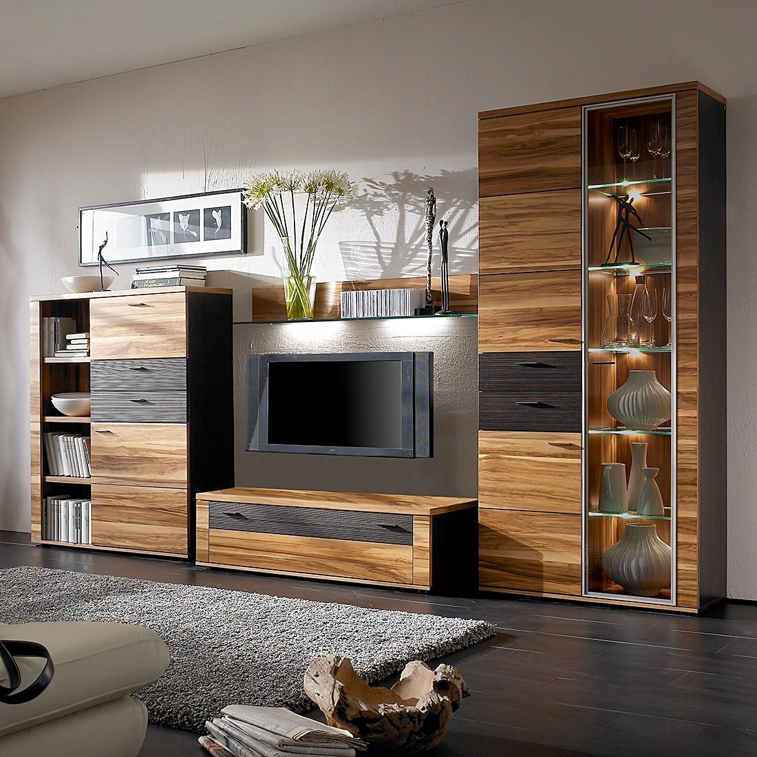wohnwand vita i 4 teilig nussbaum schoko vitrinenelement rechts mit beleuchtung ohne. Black Bedroom Furniture Sets. Home Design Ideas
