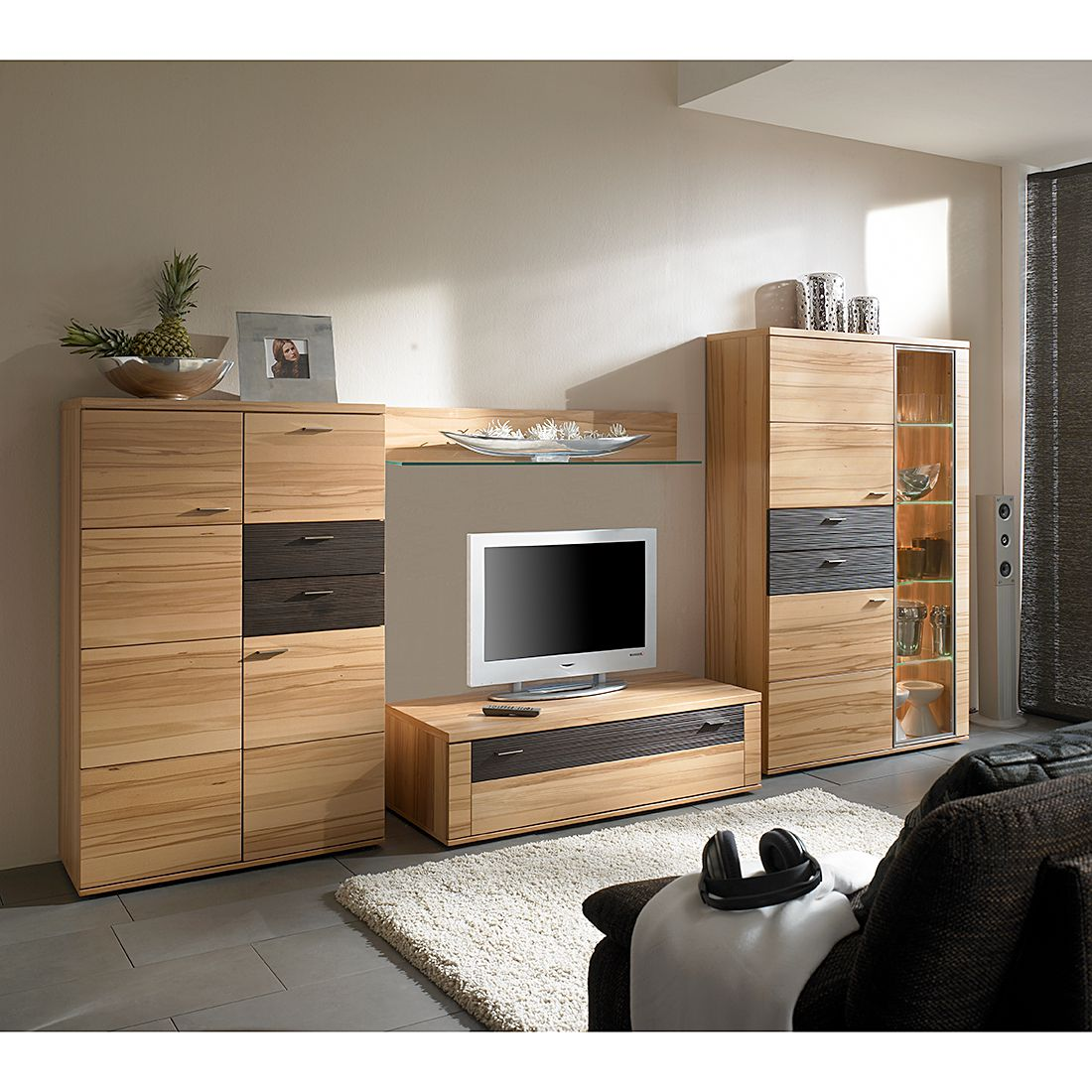 wohnwand vita ii 4 teilig kernbuche vitrinenelement. Black Bedroom Furniture Sets. Home Design Ideas